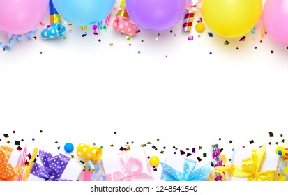 Birthday party background with balloons  and birthday gifts. Flat lay, top view, copy space.