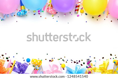 Birthday Party Background With Balloons And Gifts Flat Lay Top View Copy
