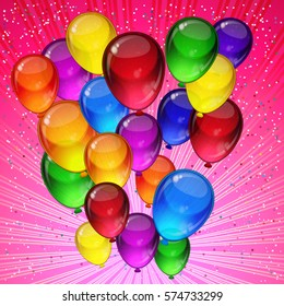 Birthday party background - colorful festive balloons, confetti, ribbons flying for celebrations card in pink background with space for you text.
