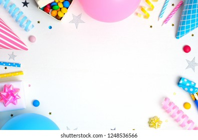 Birthday party background. Flat lay, top view, copy space.