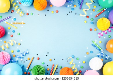 Birthday Party Background On Blue Top View Frame Made Of Colorful Serpentine Balloons