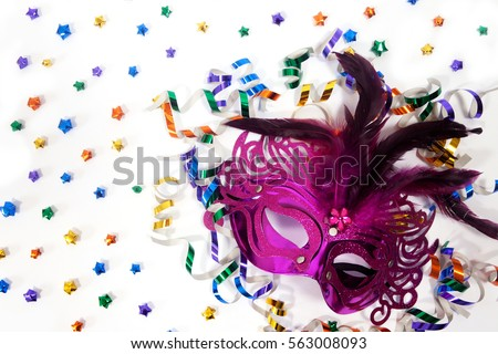 5b1a19bd645f Birthday party background with purple masquerade mask with metallic paper