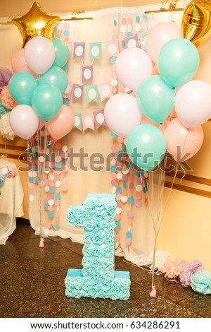 Birthday Party For Child One Years Old Pink Mint And White Colors Stylish Decorations Big Number