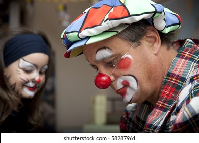 Birthday party with clown