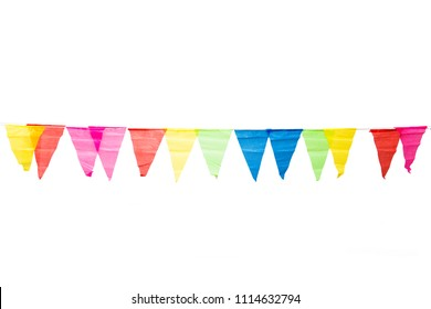 Birthday party decoration flags isolated on white background