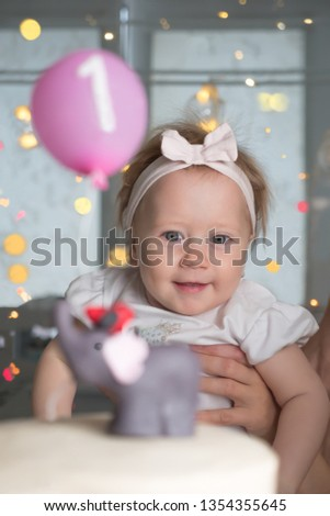 Birthday Party Of Little Baby Girl One Year Old Happy