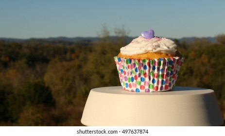 Birthday Party Vanilla Cupcake On White Ceramic Pedestal With White Frosting, Pink Sprinkles And Purple Candy Heart On Top And Trees, Mountains And Blue Sky In Background