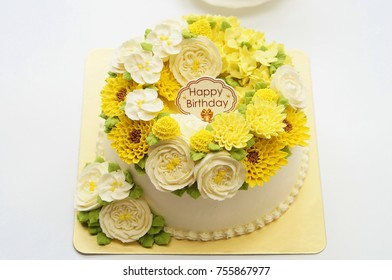 Birthday Princess Cake With Flowers And Afternoon Tea Set On White Background