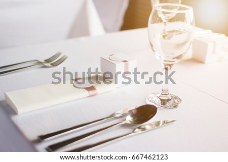 Birthday Table Decoration Setting In Modern Style Spoon Knives And Forks On A With Small Surprise