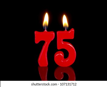 Birthday-anniversary candles showing Nr. 75