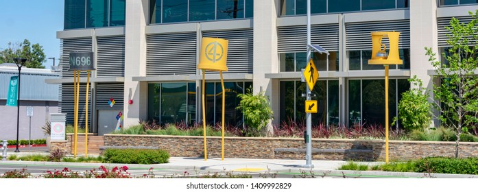 Birthplace of Silicon Valley. A display of sculptures of giant transistors and diodes near original location of Shockley Semiconductor Laboratory - Mountain View, California, USA - May 25, 2019