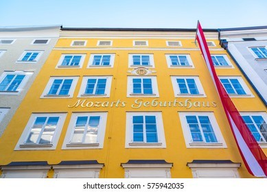 The birthplace of Wolfgang Amadeus Mozart in Salzburg, Austira (In English - Mozart's Birthplace)