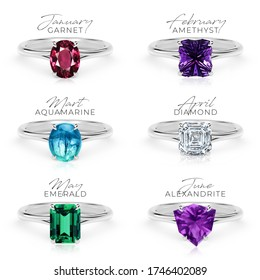 Birthstone rings collection PART 1/2 (first part) gem jewelry silver