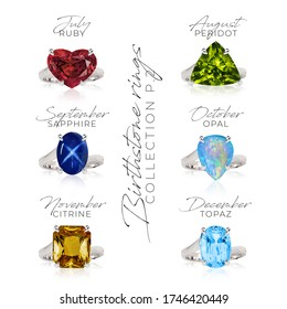 Birthstone rings collection set (PART 1/2 FIRST PART) gem lewelry