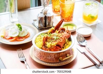 BIRYANI  - BIRYANI RICE COOK WITH LOBSTER - MAINE LOBSTER BIRYANI INDIAN FOOD HALAL IN THAILAND.