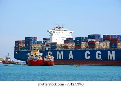 BIRZEBBUGA, MALTA - APRIL 1, 2017 - Container ship Callisto docked in the port, Birzebbuga, Malta, Europe, April 1, 2017.