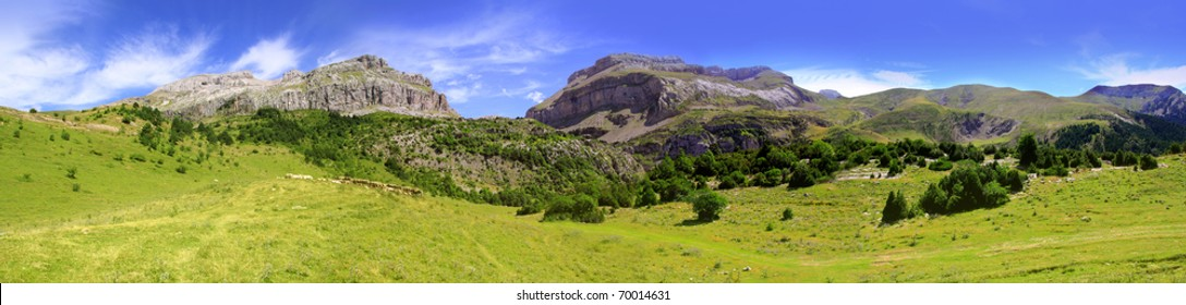 Bisaurin Pyrenees peak panoramic mountain landscape scenics Huesca Spain [Photo Illustration]