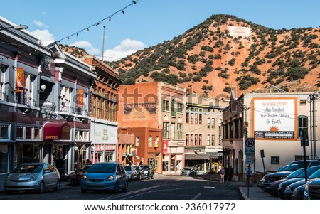 "BISBEE, ARIZONA - NOV 16, 2014: Downtown Bisbee, Arizona and the large ""B"" on the hillside behind it, shot during late afternoon."