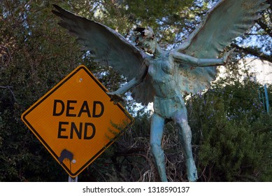 Bisbee, Arizona/USA - February 8, 2019: Dead End sign and angel