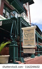 Bisbee, AZ., August 17, 2018. Copper Queen hotel opened in 1902 by Phelps Dodge to provide rooms/dining for guests and mining investors while visiting mining operations.  This grand hotel is haunted
