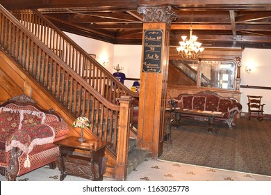 Bisbee, AZ., August 17, 2018. Copper Queen hotel opened in 1902 by Phelps Dodge to provide rooms/dining for guests and mining investors while visiting mining operations.   The lobby is grand.