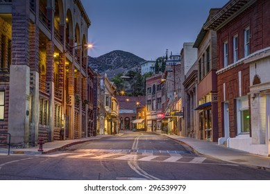 Bisbee, AZ - MAY 24, 2015: Downtown Historic Bisbee, Arizona - formerly a copper mining town - photographed at night.