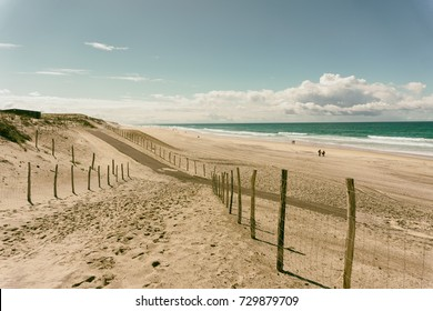 Biscarosse beach, famous surfing spot, France.