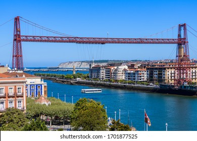 Biscay Bridge on the River Nervion.The beautiful city of Bilbao. Basque country. Northern spain