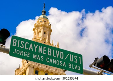 Biscayne Boulevard street sign in the downtown Miami area.