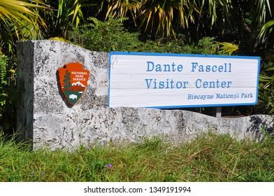 BISCAYNE NATIONAL PARK - DEC 19, 2012: Sign of Dante Fascell Visitor Center in Biscayne National Park, Florida, USA.