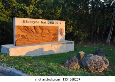 BISCAYNE NATIONAL PARK, FL, USA - DEC 19, 2012: Sign of Biscayne National Park, Florida, USA.