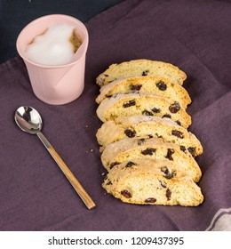 Biscotti or Cantucci with Raisins and Cappuccino