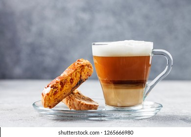Biscotti and coffee on a gray background. Italian dessert.