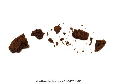 Biscuit with chocolate chip flavored. Some broken and crumbs of crunchy delicious sweet meal and useful cookie. Isolated on white background.