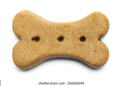 Biscuit Dog Bone Isolated on a White Background.
