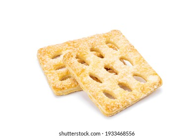 biscuit isolated on white background. cookie snack cut out.