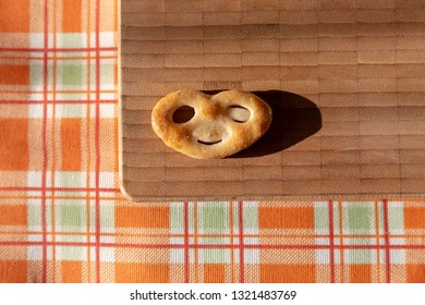Biscuit with a smiley face