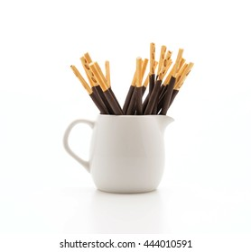 biscuit stick with chocolate flavored on white background