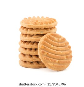 Biscuit sweet cookie background. Domestic stacked butter biscuit pattern concept