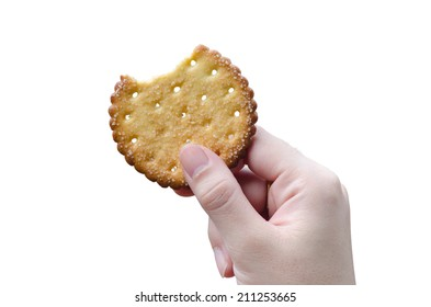 Biscuit topped with crispy brown In my hand