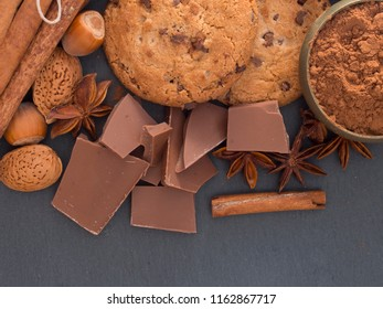 biscuits with chocolate and nuts