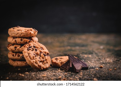 Biscuits cookies with chocolate and milk, splash