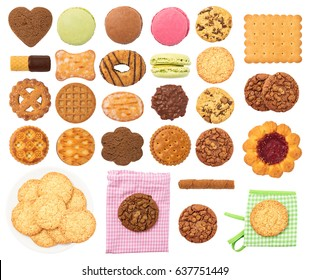 Biscuits and Cookies Set Isolated on White Background. Contain different types of cookies: chocolate, oat, macaroon, biscuit, wafer roll, digestive, etc.