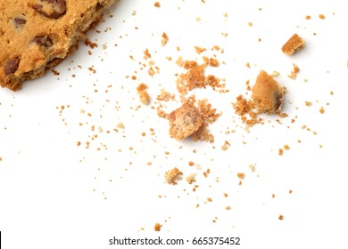 Biscuits with crumbs isolated on white background