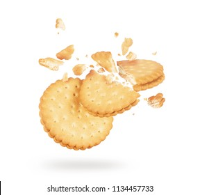Biscuits crushed into pieces close-up isolated on a white background