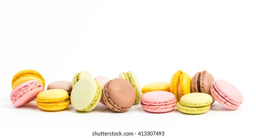 biscuits - macaroons against white background