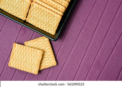 Biscuits on plate on the table light side