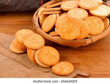 Biscuits on wooden floor