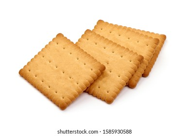 Biscuits, sweet cookies, isolated on white background.