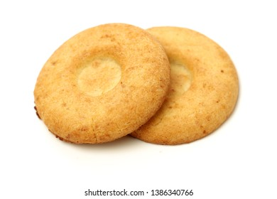 Biscuits with whole-wheat flour. Crunchy, grains  on white background